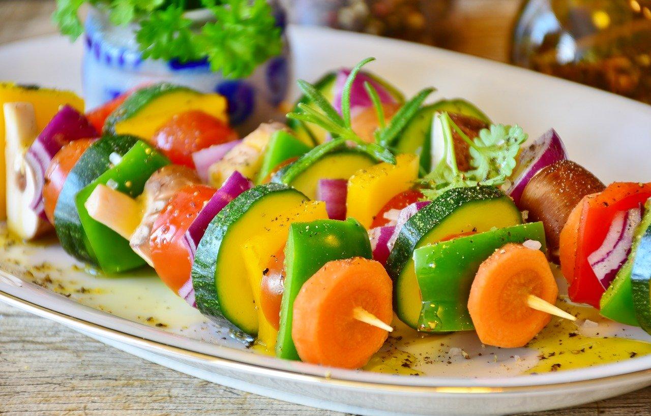 vegetable skewer, vegetables, food